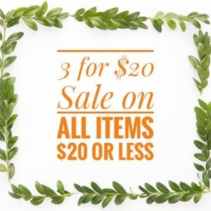 Other - 3/$20 on items $20 or less.